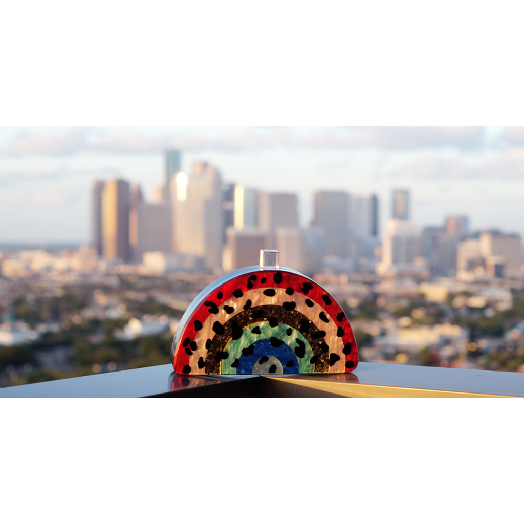 Rainbow Half moon Acrylic Clutch