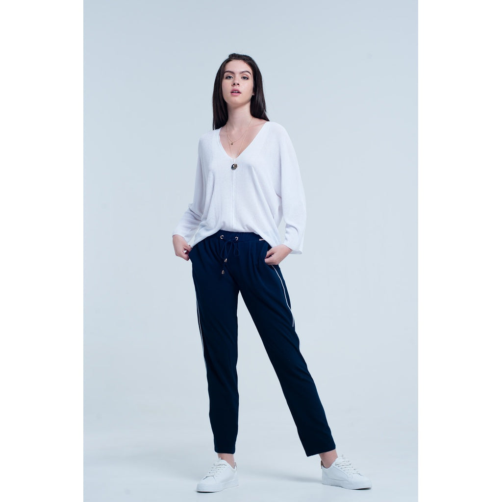 Navy blue pants with lateral white line