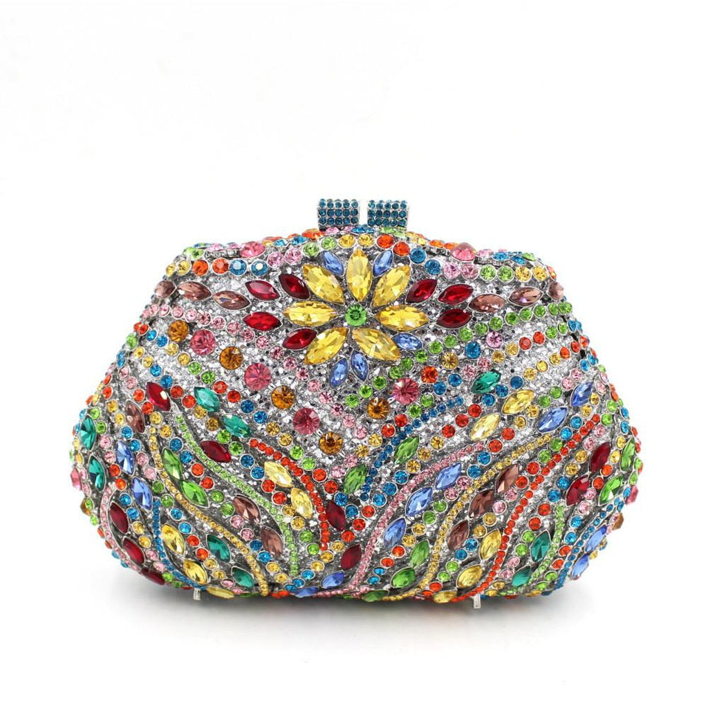 Sun Flower Purses for women Luxury Rhinestone Clutch Prom Purses