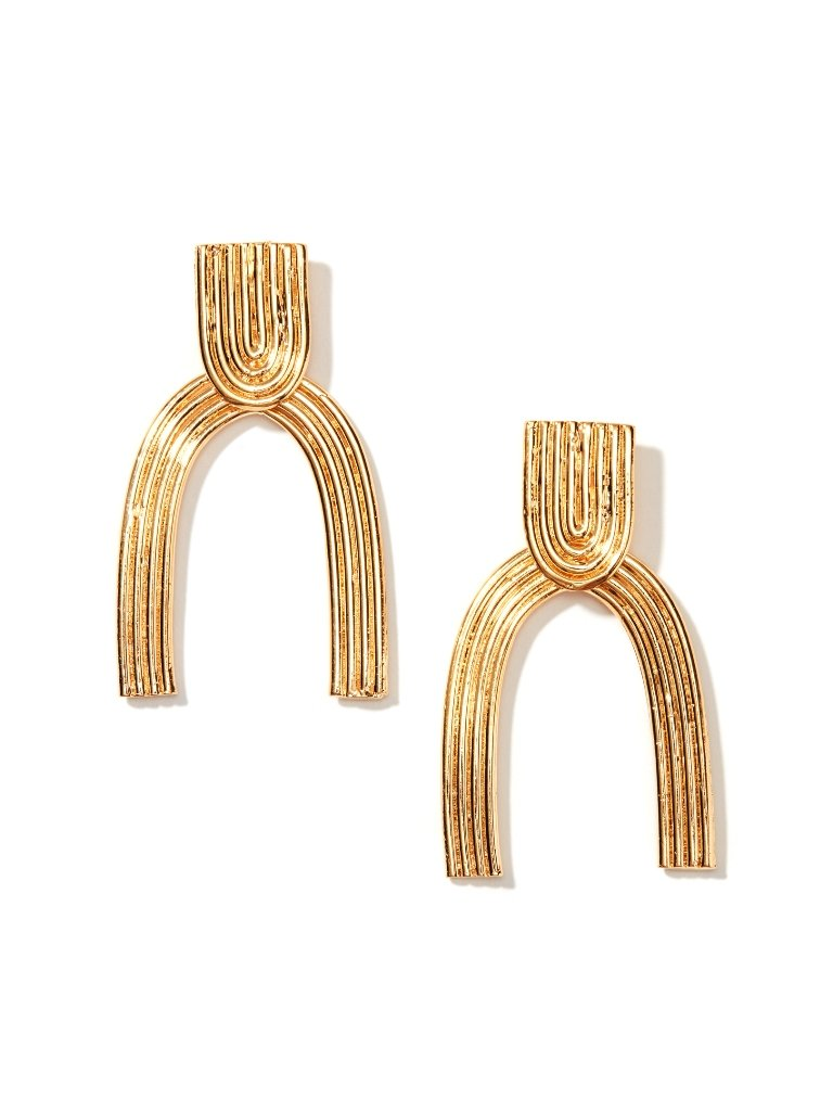 Gold Arc Stud Drop Earrings