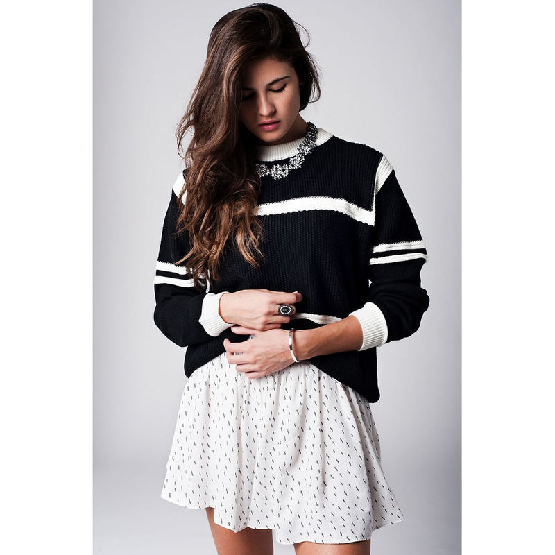 Black Striped Cable Knit Sweater