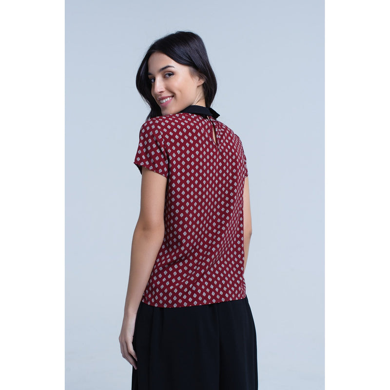 Bordeaux top with printed detail