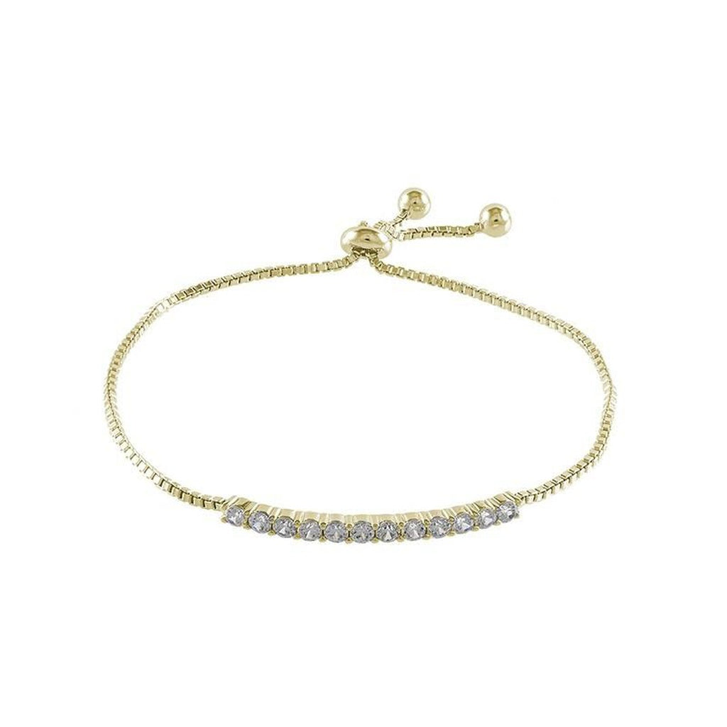 Gold Plated Round CZ Adjustable Bolo Bracelet