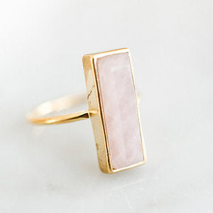 Gem Bar Ring - Rose Quartz