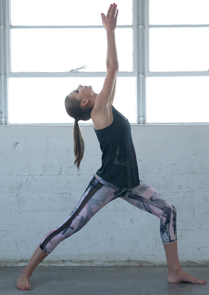 printed workout capris with black mesh