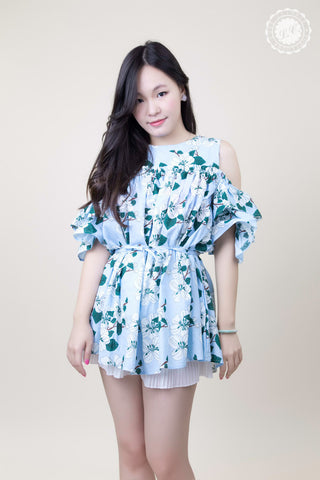 Floral Ruffle Shoulder Dress