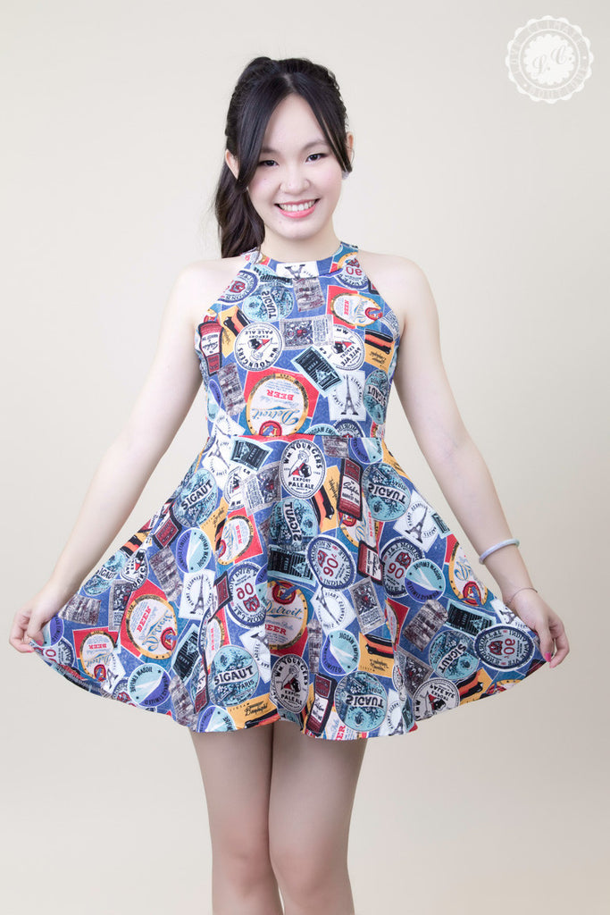 Halter Neck Stamp Pattern Dress