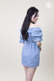 Off Shoulder Grid Dress