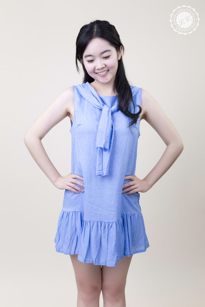 Sleeveless School Girl Ruffle Bottom Dress