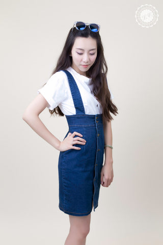 Button Overall Denim Skirt