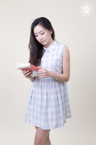 Basic Sleeveless Grid Shirt Dress