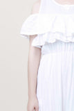 Ruffle Shoulder Long White Dress