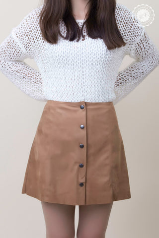 Front Button Suede Skirt