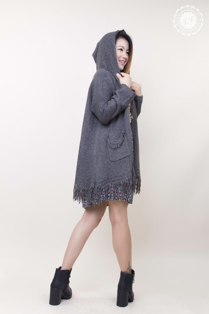 Loose Fit Casual Fringe Style Knit Cardigan