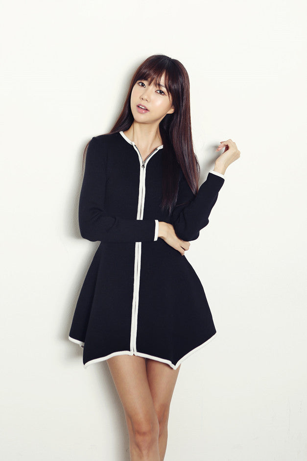 Flared Zipper Knit Dress