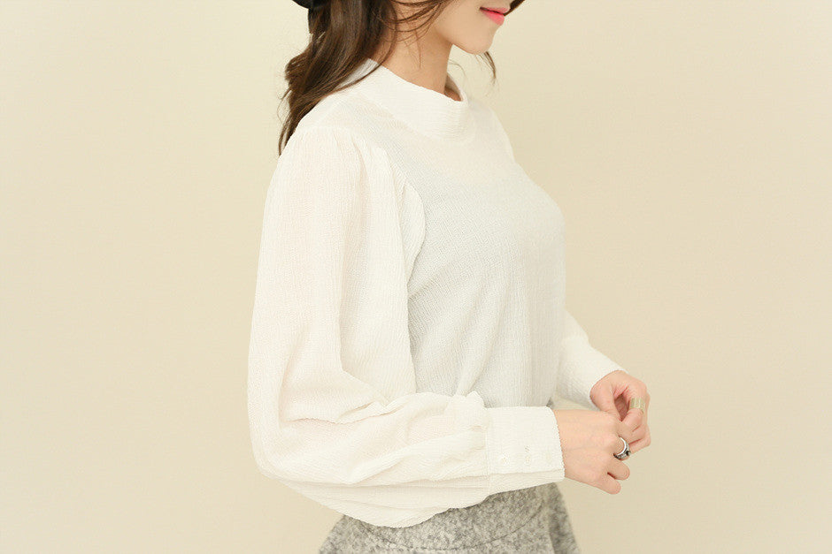 Runched Long Sleeve Blouse