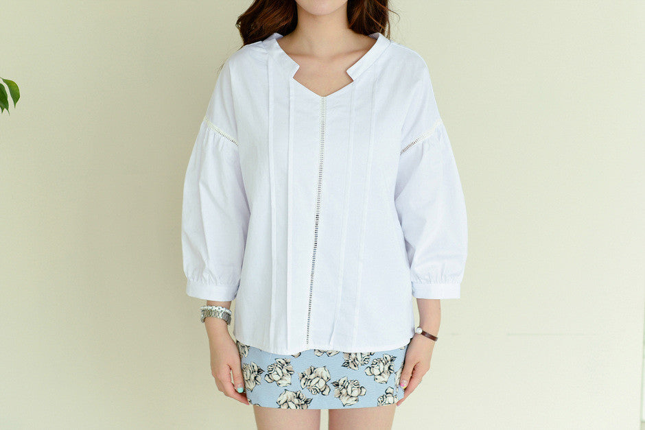 Double V-neck Embroidered Shirt