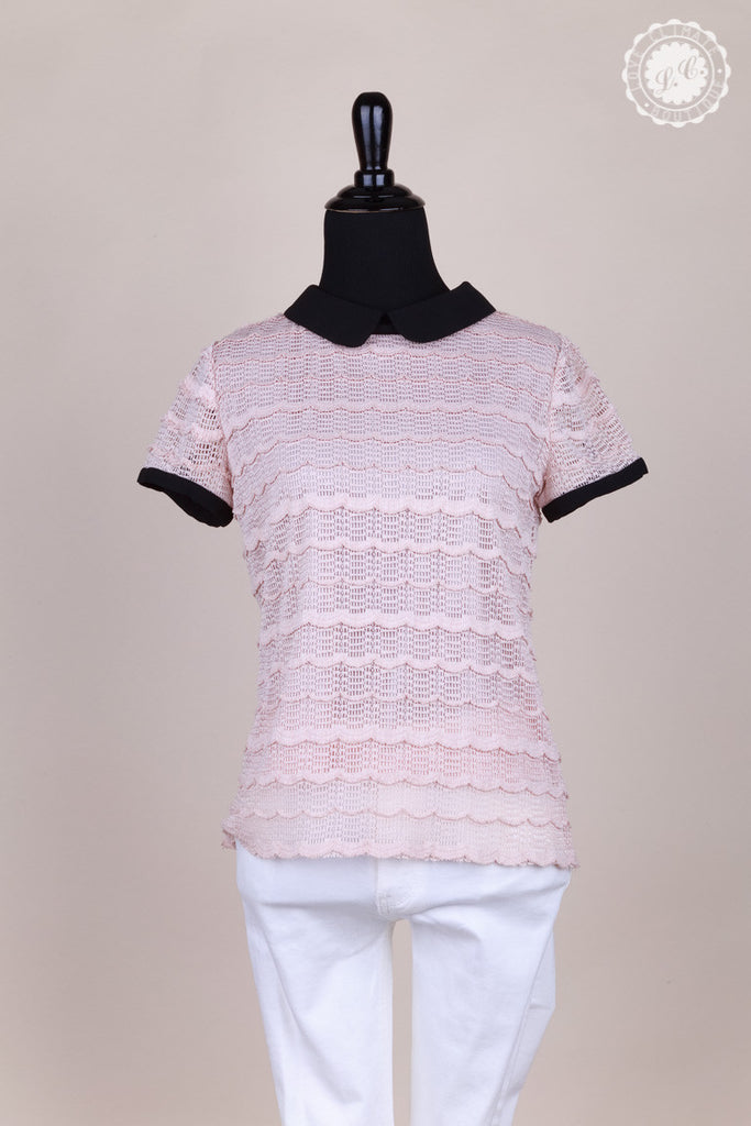 Round Collar Lace Pink Top