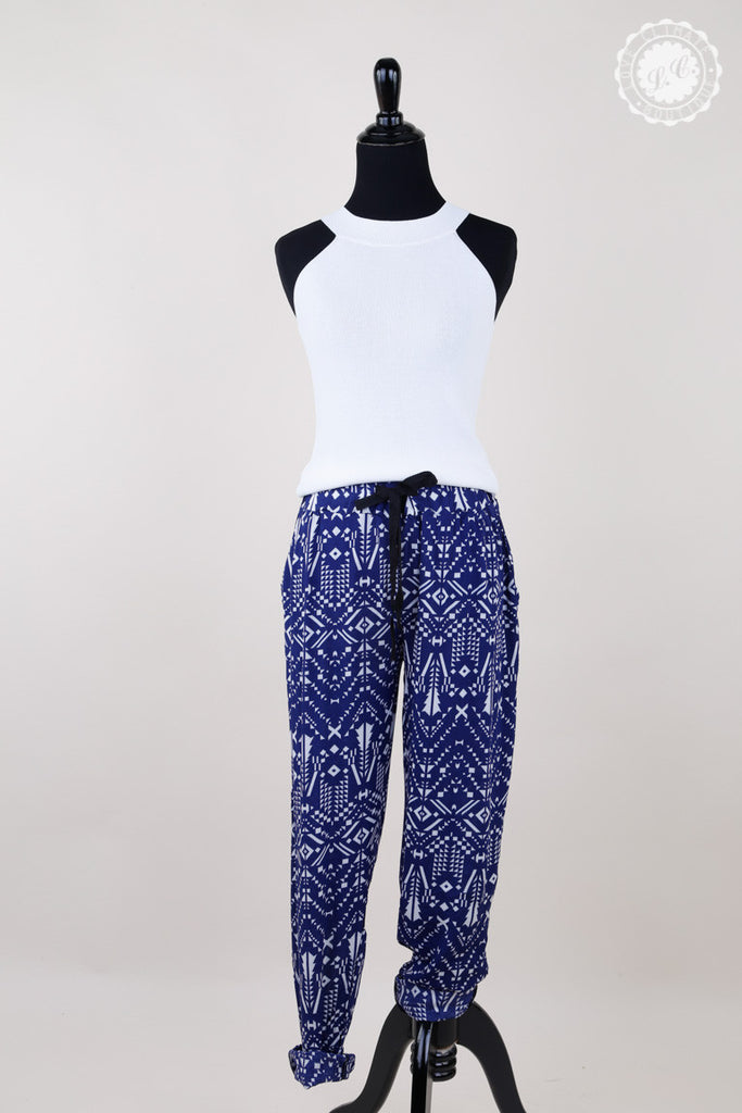 Banded Silky Patterned Long Pants