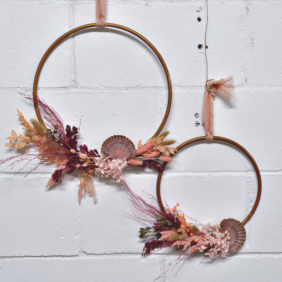 Dried Flowers Gold Hoop Workshop