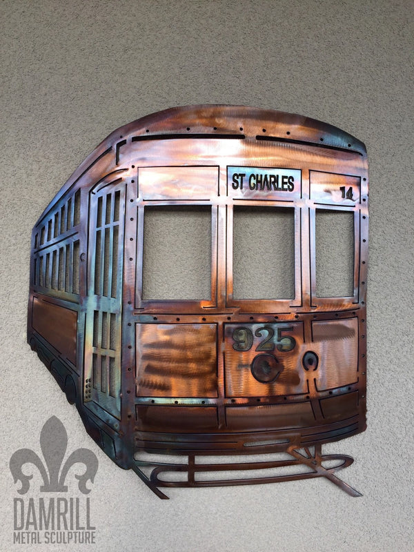 Personalized New Orleans Metal Streetcar Trolly Copper Finish - Damrill Metal Art