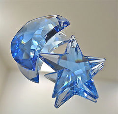 Swarovski Sapphire Blue Moon and Star Prisms Ornaments logo 30mm, 28mm Retired