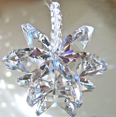 Snowflake Octagon Ornament Suncatcher, Made With Larger Swarovski Prisms
