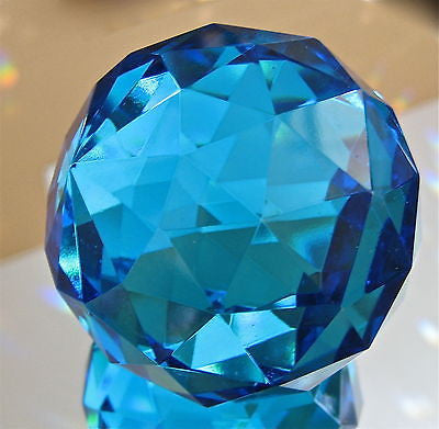 Blue Crystal Ball Paperweight Prism Ornament no hole Large 50mm weighs 9.4 oz.