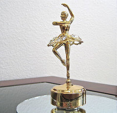 Ballerina Music Box that Twirls with Swarovski Crystal Octagon Prisms, 24K GP