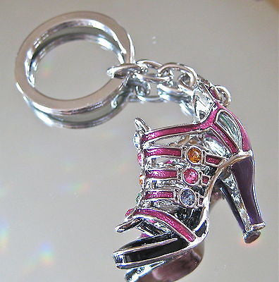 High Heel Shoe Sandal Keychain with Swarovski Rhinestones