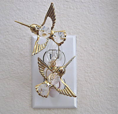 Swarovski Prisms, Hummingbird Night Light Octagon Prisms, 24K Gold Plate, NIB