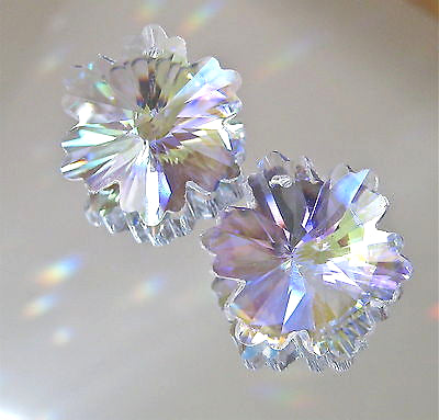 Crystal AB Lacy Snowflake Prisms Ornaments Suncatchers Pendants,  Two 30mm