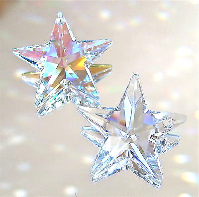 Swarovski Crystal Star Prism Ornaments, Set of Two, 1 AB and 1 Clear star, 28mm