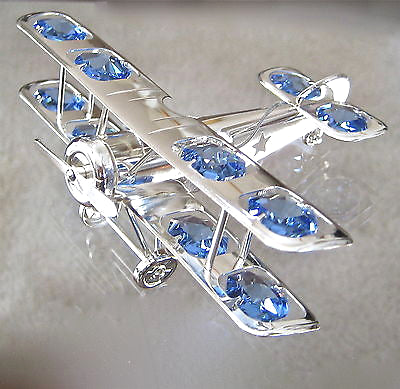 Airplane Biplane Suncatcher with 12 Swarovski Prisms, Anti Tarnish Silver Plate