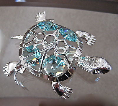 Turtle Ornament made with 4 Swarovski Octagon Prisms, Sterling Silver Plated