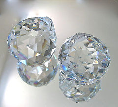 Set of Two Crystal Ball Prism Suncatcher Ornaments. Leaded 40mm