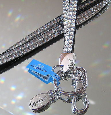 AB Diamond Jewelled Leather Kalifano Badge Holder with Chrome Clasps