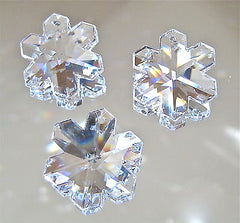 Swarovski Crystal Set of Three 25mm Snowflake Prism Ornaments logo, Retired