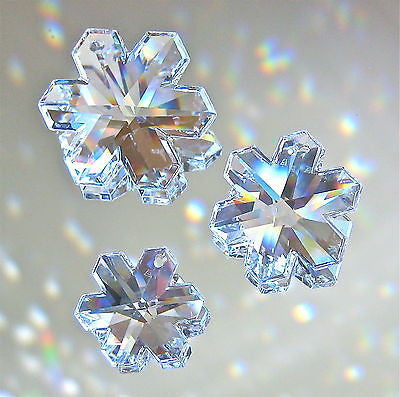 Swarovski Crystal Snowflake Prism Ornaments, 30mm 25mm 20mm, all 3 Retired, logo
