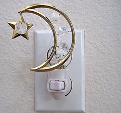 Swarovski Prisms, Moon and Star Night Light Octagon Prisms, 24K Gold Plate, NIB