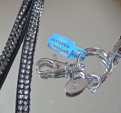 Black Diamond Jewelled Leather Kalifano Badge Holder with Chrome Clasps