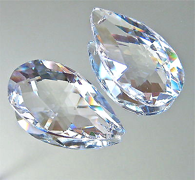 Leaded Crystal Set of Two 50mm Teardrop Prism Suncatcher Ornaments From Germany
