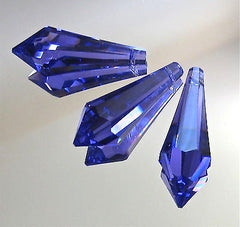 Swarovski Crystal 3 Chunky Tanzanite Blue Viole Icicle Prism Ornaments 38mm logo