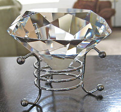 Diamond Figurine Prism Paperweight and Stand, Superioir cuts and facets, 80mm