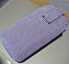 Swarovski Crystal Rhinestone Leather Iphone 5 Iphone 5S Cell Phone Case Lavender