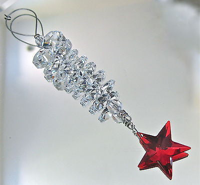 Swarovski Bordeaux Ruby Red Star Prism Ornament, 14 Octagon Prisms Retired Color