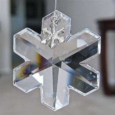 Swarovski Crystal Snowflake Prism Ornament Pewter Charm 35mm Retired with Logo