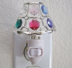 Swarovski Prism Lamp Night Light, with 6 prisms, Anti Tarnish Silver Plated NIB