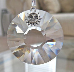Swarovski Crystal  40mm Sun Prism Ornament Suncatcher, logo & Pewter Charm