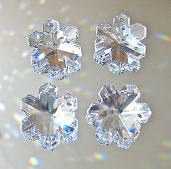 Swarovski Crystal Four 20mm Snowflake Prisms Ornaments Pendants, Logo Retired